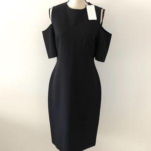 Zara Cold Shoulder Black Cocktail Dress Size L